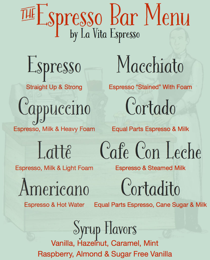Sweet Coffee Lovers Menu