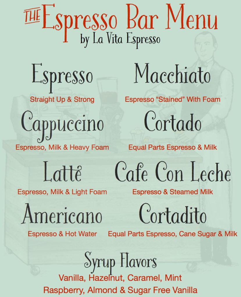 Sweet Coffee Lovers Menu