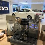Coffee cart at the Mazzerati dealer
