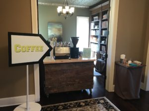 Our coffee cart set up inside a home for a grad party