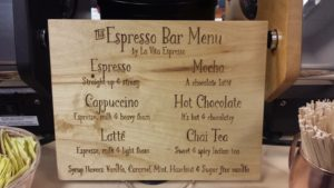 One of our coffee bar menus