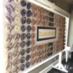 The donut wall next to our coffee service at a grad party