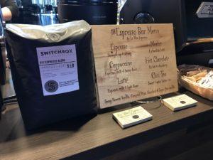 Coffee cart menu with Switchbox Coffee
